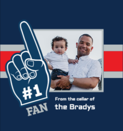 No1 Fan Blue Red Silver
