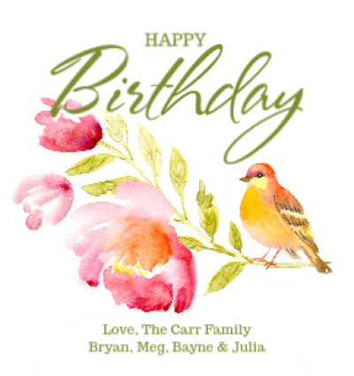 Watercolor Bird Birthday
