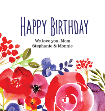 Watercolor Flowers Birthday