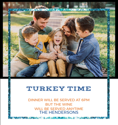 Turkey Time Blue Frame