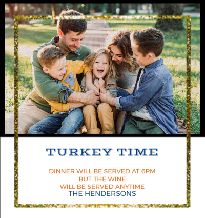 Turkey Time Gold Frame